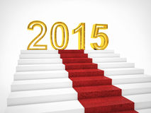 2015 new year. 3d image of 2015 text with red carpet Royalty Free Stock Images