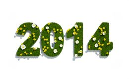 New year 2014 3d logo. With grass and flowers - ecology concept Royalty Free Illustration