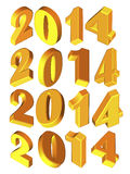New Year 2014, 3D model Royalty Free Stock Photography