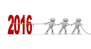 New year. 3d people - man, person with red 2016 New Year Sign Royalty Free Stock Photography