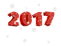 New year 2017. 3D picture of 2017 is red and falling snowflakes Royalty Free Stock Photography