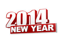 New year 2014 in 3d red figures and block Royalty Free Stock Photos