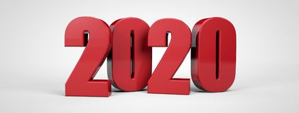 2020 new year 3d red metallic text 3d render