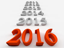 2016 new year. 3d red numbers of New Year 2016 near grey others Stock Photos