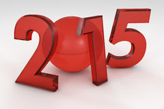 The new 2015 year in 3D. New Year 2015 Red render Royalty Free Stock Photos