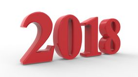 New year 2018 3d red. With white background Stock Photos