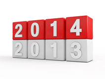 New year 2014. 3d render Stock Photos