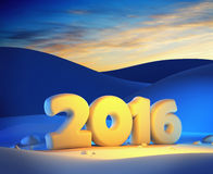 New year 2016. 3d render Royalty Free Stock Photo