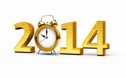 New Year 2014. 3d render New Year 2014 and Alarm Clock gold (isolated on white and clipping path Royalty Free Stock Image