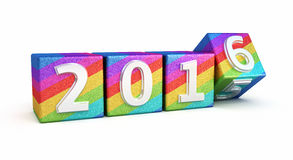 New Year 2016. 3d render New Year 2016 colored cubes (isolated on white and clipping path Royalty Free Stock Images