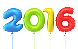 New Year 2016. 3d render New year 2016 and Colorful Balloons (isolated on white and clipping path Royalty Free Stock Photos