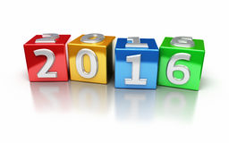 New Year 2016. 3d render New Year 2016 colorful cube (isolated on white and clipping path Royalty Free Stock Photography