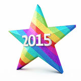 New Year 2015. 3d render New year 2015 and Colorful Gradient Star ( on white and clipping path vector illustration
