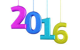 New Year 2016. 3d render New Year 2016 and colorful (isolated on white and clipping path Royalty Free Stock Images