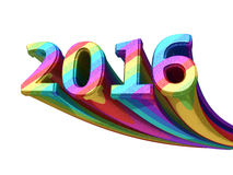 New Year 2016. 3d render New Year 2016 colorful metal (isolated on white and clipping path vector illustration