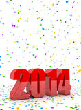 New year 2014. 3D Render of the new year 2014 and confetti Royalty Free Stock Photos