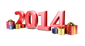 New Year 2014. 3d render New Year 2014 and Gift Box ( on white and clipping path Stock Image