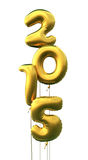 New Year 2015. 3d render New year 2015 and Gold Ballons (isolated on white and clipping path Stock Illustration