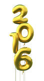New Year 2016. 3d render New year 2016 and Gold Ballons (isolated on white and clipping path Royalty Free Stock Photos