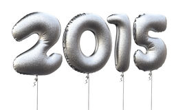 New Year 2015. 3d render New Year 2015 and Gray balloons  (isolated on white and clipping path Royalty Free Stock Images