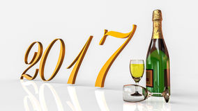 New year 2017. 3D render image representing happy new year with champagne Royalty Free Stock Image