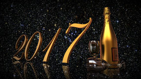 New year 2017. 3D render image representing happy new year with champagne Royalty Free Stock Photography