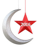 New Year 2016. 3d render New year 2016 Moon and star shape christmas decorations (isolated on white and clipping path Royalty Free Stock Photography