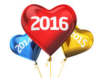 New Year 2016. 3d render New year 2016 and old years balloon concept (isolated on white and clipping path Stock Photography