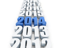 New year 2014. 3D Render of the new year 2014 and other years royalty free illustration