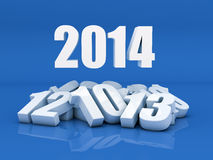New year 2014. 3D Render of the new year 2014 and other years in blue background Royalty Free Stock Photos