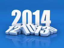 New year 2014. 3D Render of the new year 2014 and other years in blue background Stock Image