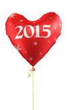 New Year 2015. 3d render New Year 2015 and Red heart balloons  (isolated on white and clipping path Royalty Free Stock Photography