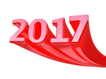New Year 2017. 3d render New Year 2017 red isolated on white and clipping path Royalty Free Stock Image
