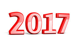 New Year 2017. 3d render New Year 2017 red  on white and clipping path Stock Images