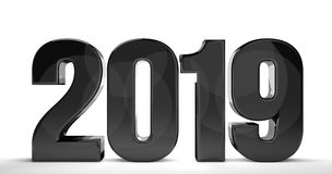 2019 new year  3d render sylvester number. Illustration Royalty Free Stock Photo