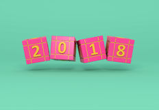 New Year 2018. 3D Rendered Image Royalty Free Stock Photo