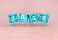 New Year 2018. 3D Rendered Image Stock Images