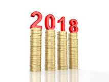 New Year 2018. 3D Rendered Image Royalty Free Stock Photos