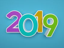 New Year 2019 - 3D Rendered Image. Happy New Year 2019 - 3D Rendered Image Design Royalty Free Stock Images