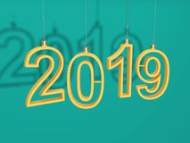 New Year 2019 - 3D Rendered Image. Happy New Year 2019 - 3D Rendered Image Design Stock Images
