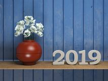 New Year 2019 - 3D Rendered Image. Happy New Year 2019 with Flowers - 3D Rendered Image Design Stock Photography