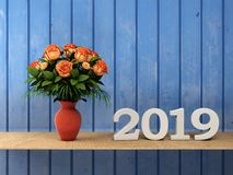 New Year 2019 - 3D Rendered Image. Happy New Year 2019 with Flowers - 3D Rendered Image Design Royalty Free Stock Photography