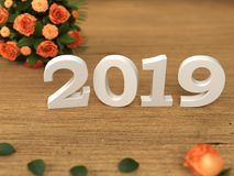 New Year 2019 - 3D Rendered Image. Happy New Year 2019 with Flowers - 3D Rendered Image Design Royalty Free Stock Image
