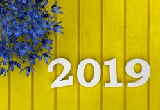 New Year 2019 - 3D Rendered Image. Happy New Year 2019 with Flowers - 3D Rendered Image Design Stock Photo