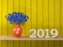 New Year 2019 - 3D Rendered Image. Happy New Year 2019 with Flowers - 3D Rendered Image Design Royalty Free Stock Photo
