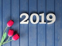 New Year 2019 - 3D Rendered Image. Happy New Year 2019 with Flowers - 3D Rendered Image Design Royalty Free Stock Photos
