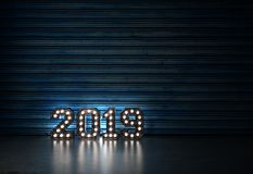 New Year 2019 - 3D Rendered Image. Happy New Year 2019 with Lights  - 3D Rendered Image Design Royalty Free Stock Photography