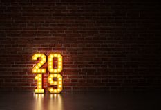 New Year 2019 - 3D Rendered Image. Happy New Year 2019 with Lights  - 3D Rendered Image Design Royalty Free Stock Images