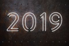 New Year 2019 - 3D Rendered Image. Happy New Year 2019 with Neon Light - 3D Rendered Image Design Royalty Free Stock Images