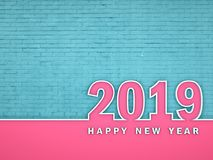 New Year 2019 - 3D Rendered Image. Happy New Year 2019 Wallpaper - 3D Rendered Image Design Royalty Free Stock Images